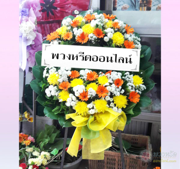 พวงหรีดดอกไม้สด-2